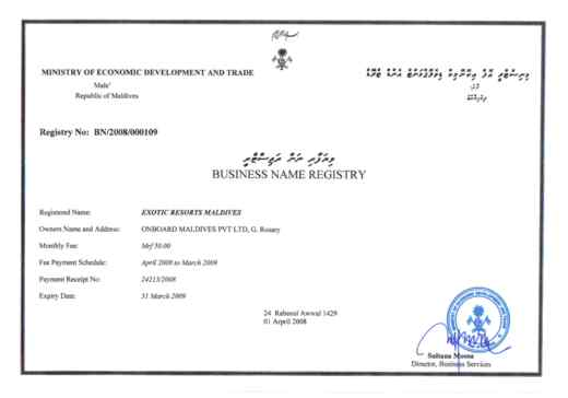 Exotic Resorts Maldives-Business Registry