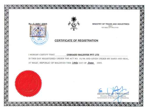Onboard Maldives Pvt. Ltd,-Company Registration Certificate